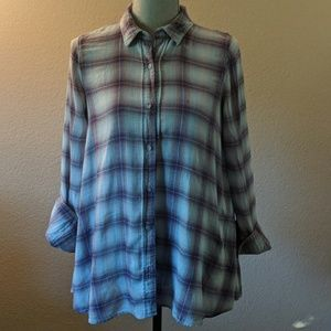 Free People Button Down Plaid Shirt